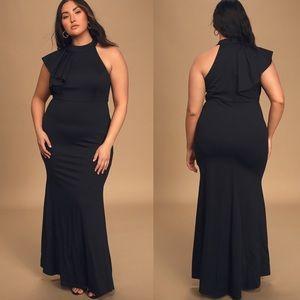 Lulus Margaux One Shoulder Maxi Dress Black Large